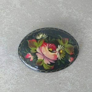 Russian Floral Brooch Hand Painted